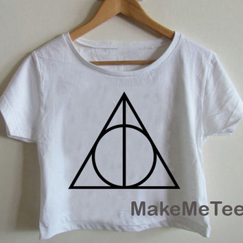 New Deathly Hallows Harry Potter Symbol Crop top Tank Top Women Black and White Tee Shirt - MM1