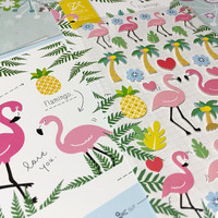 Flamingo sticker Flamingo bird pink bird sticker palm tree fancy birds label twins birds fairy tale birds sticker scrapbook craft gift