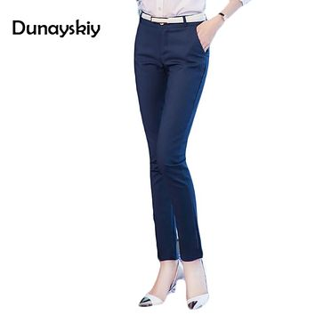 Spring new fashion high waist pencil pants for women office OL style work wear skinny Cargo pants female vintage trousers formal