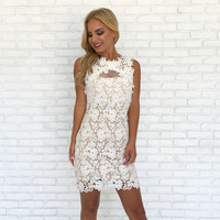 Aurora Crochet Dress in White