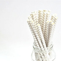 Paper Straw Chevron - Gray x 25