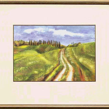 Green fields of Val d'Orcia; Tuscany, Italy; original impressionistic painting by European artist Maga Fabler