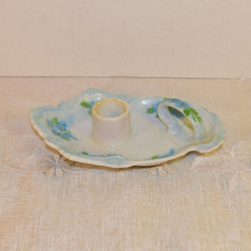 Forget Me Not Floral Candlestick Holder Vintage Finger Loop Single Taper Candle Holder Blue Floral Design Artist Signed Dresser Vanity Decor