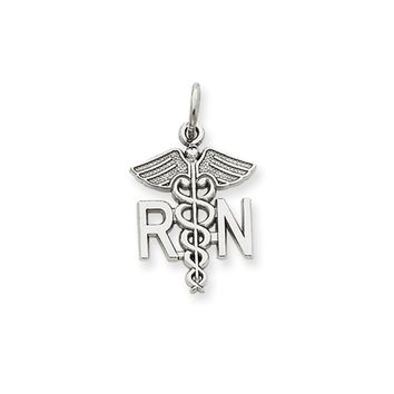 14k White Gold RN Caduceus Charm