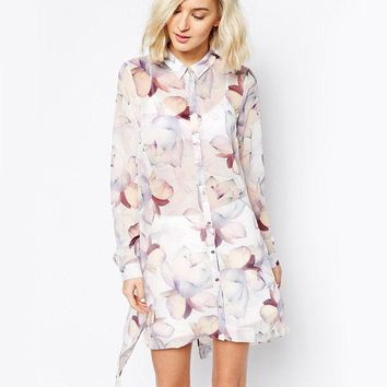 ONETOW Autumn Women's Fashion Casual Print Chiffon Shirt Long Sleeve One Piece Dress [8805491655]
