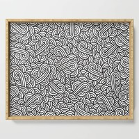 Black and white swirls doodles Serving Tray by savousepate