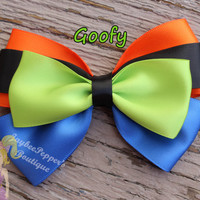 Goofy hair bows disney inspired hair clip girls blue orange lime dog ears