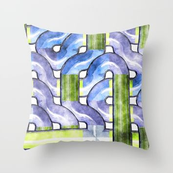 Pipelines watercolor Throw Pillow by LoRo  Art & Pictures