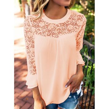 Women Blouses 3/4 Sleeve Frill Tops Hollow Out O-Neck Casual Lace Shirt