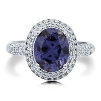 Oval Cut Lavender Blue Cubic Zirconia CZ Sterling Silver 925 Halo Ring #r601