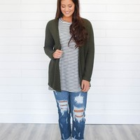 For The First Time Cardigan - Olive
