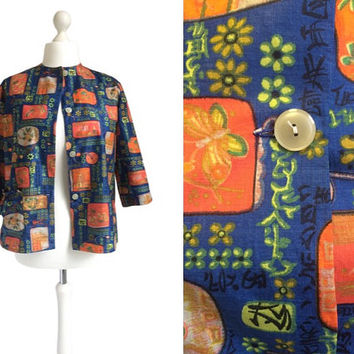 Novelty Print Jacket - Vintage Jacket - Blue And Orange Chinese Print Jacket