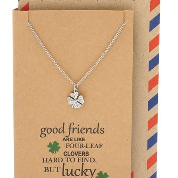 Lia Four Leaf Clover Necklace, 4 Leaf Clover Best Friend Jewelry