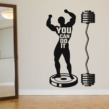 "Athlete Muscle Man Wall Decal, ""You Can Do It"" Quote Wall Sticker, Man Cave Wall Decor, Crossfit Motivation Wall Decal, Gym Wall Mural se085"