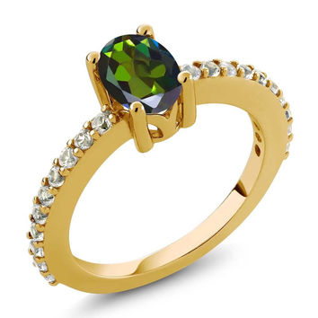 Green Mystic Topaz and White Created Sapphire 18K Yellow Gold Plated Silver Ring