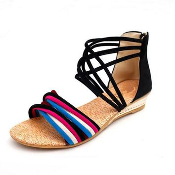 2017 Ethnic Summer Women's Flats Sandals Shoes Open Toe Flats Platform Bohemia Beach Sandals Wedges Low Heel Plus Size Shoes 45