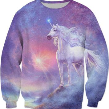 Rainbow Unicorn Sweatshirt 3D Harajuku Long Sleeve Unicorn Rainbow Cat Hoodies Jumper Hipster Unisex Women Cute Pullover Outfits