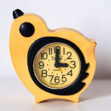 SALE Soviet clock Vintage alarm clock Russian clock Mechanical clock - yellow chicken clock - Slava from USSR