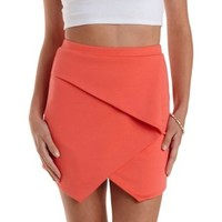 Coral Bodycon Origami Envelope Skirt by Charlotte Russe