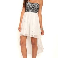 Strapless High Low Prom Dress with Lace Bodice