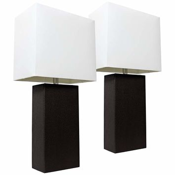 Albers Black Leather Accent Table Lamp Set of 2 - #35V90 | Lamps Plus