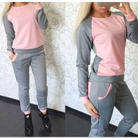 Women's Fashion Stylish Hoodies Sportswear Set [6339025729]
