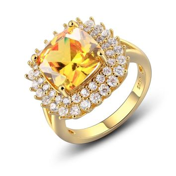 925 Sterling Silver Rings for Women Solitaire Cushion Yellow Natural Citrine CZ Wedding Engagement Fine Jewelry Valentines gift