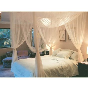4 Corner Post Bed Canopy Mosquito Net Full Queen King Size Netting Bedding (Size: 1)
