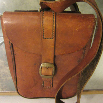 Vintage Postman Tan Leather Satchel Brass Buckle