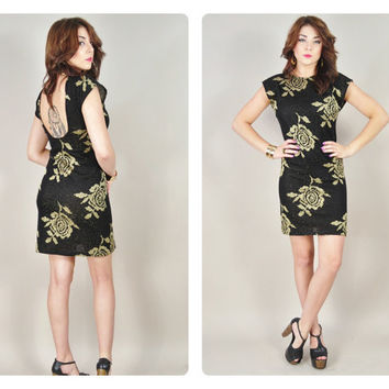 1970s black & gold metallic floral knit tight bodycon plunging open BACKLESS disco mini dress VINTAGE