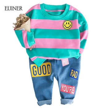 Smiley Face Baby Boys Clothes Suit Autumn 2018 New Fashion Style Cotton Striped Children Girl Clothes Clothes Boys Clothing Sets