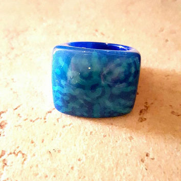 Tagua nut ring, tagua ring, natural brand, natural jewelry, organic ring, handmade jewelry, eco friendly ring, Blue tagua, statement ring