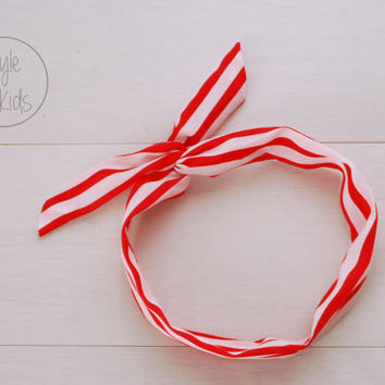 RED Striped Wire Headband Bow Headband Toddler Headband Adult Rockabilly Headband Retro Tie UP Headband Mum and Me Headband