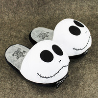"""1Pair 11""""28cm Anime The Nightmare Before Christmas Jack Skellington Plush Slippers Shoes Warm Winter Adult Slipper Great Gift"""