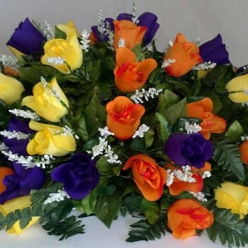 Premium Rosebud Spray with Orange Yellow and Purple Flowers - 34 inch