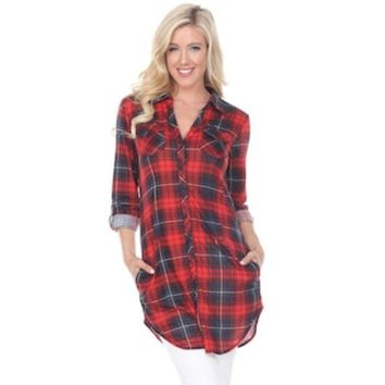 VONEKT2 Women's White Mark Plaid Tunic | null