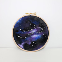 "Zodiac Virgo constellation - 5"" wall art embroidery galaxy print"