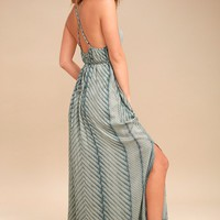 Lenore Sage Green Print Maxi Dress