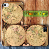 Vintage World Map Retro Unique Custom iPhone 5 Case Cover