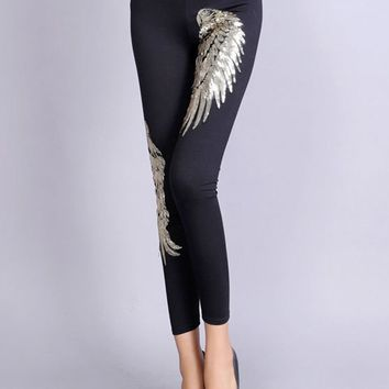 Streetstyle  Casual Designed Sequin Wing Mid-Rise Legging