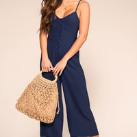 Sightseer Navy Button Jumpsuit