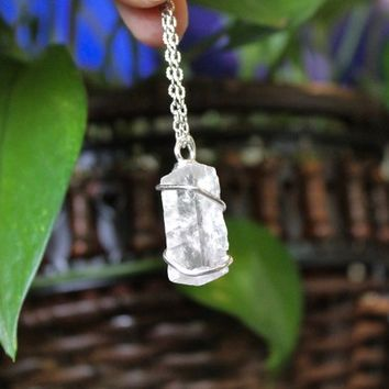 Optical Calcite Necklace in Silver, Wire Wrapped Stone Pendant, Pagan Jewelry, Healing Crystal, Bohemian Festival Wear, Boho Chic Fashion