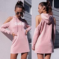 Women Casual Fashion Letter Print Hollow Long Sleeve Middle Long Section Hooded Sweater Dress