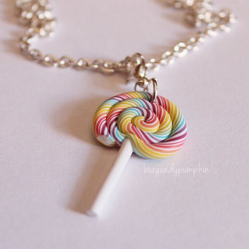 Rainbow lollipop charm, handmade with polymer clay, miniature food jewelry