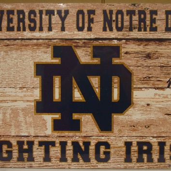 "NOTRE DAME FIGHTING IRISH EST 1842 WOOD FENCE SIGN 19""X30'' BRAND NEW WINCRAFT"
