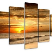 "Picture 6407 on canvas length 40"" height 20"" beach ocean pictures ready to hang framed , brand original Visario!"