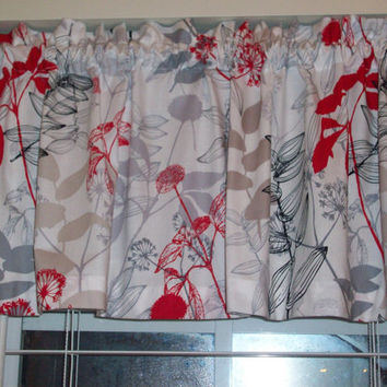 Waverly Valance Custom Boutique Red Black white Floral Lined CurtainValance - Kitchen, Bath, Laundry, Bedroom, living room-Window Treatment