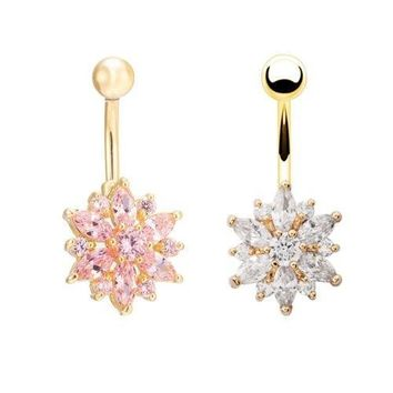 18K Gold Plated Crystal Rhinestone Flower Body Piercing Belly Navel Ring Button Bar Jewelry [7901287175]