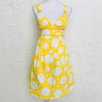 A Byer Empire Circular Yellow Print Cotton Sundress, Size 7