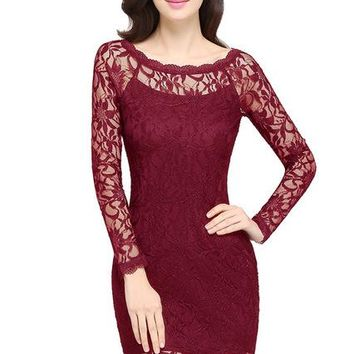 A| Chicloth Sexy Sheer Long Sleeve Burgundy Short Bodycon Dress O Neck Black Lace Dress